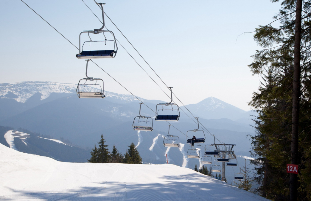 Bukovel lift in the winter