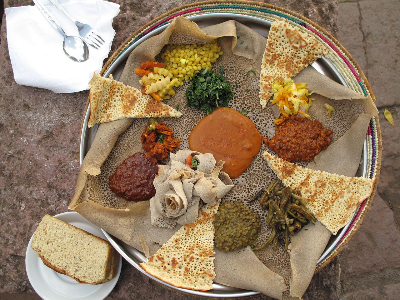Injera vegan dishes in Ethiopia